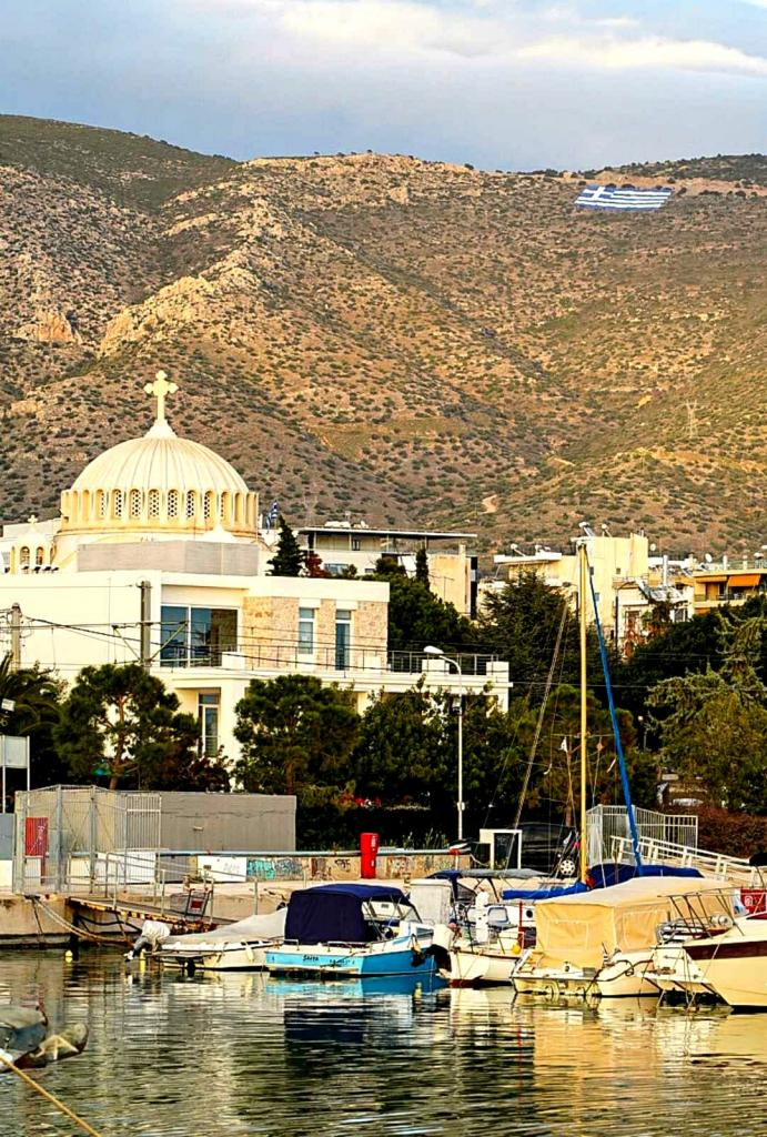 4,000 square metre Greek flag flies from Mount Hymettus 2